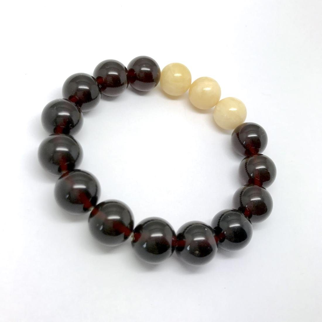 Bracelet Baltic amber cherry white beads ø11mm - 4