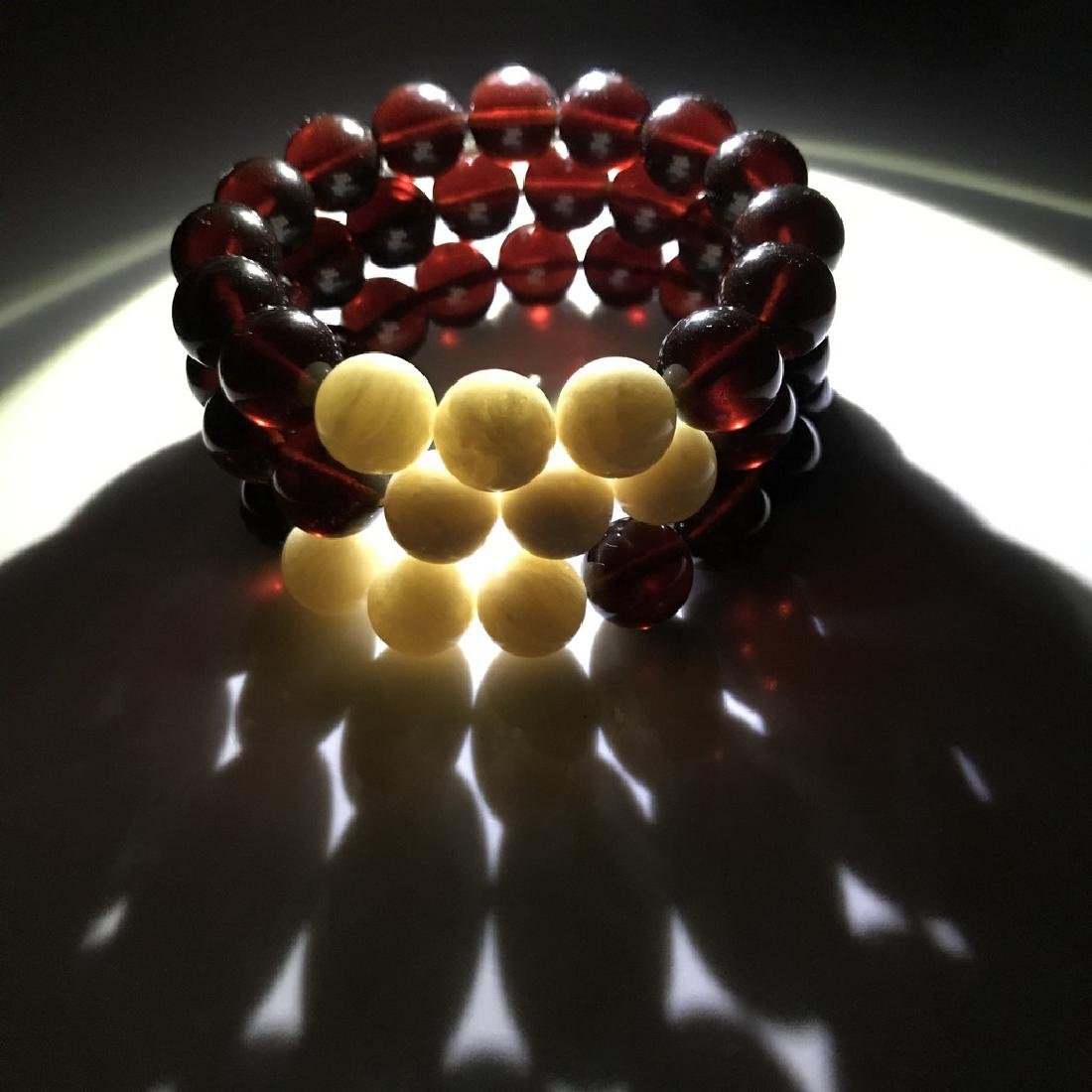 Bracelet Baltic amber cherry white beads ø11mm - 7