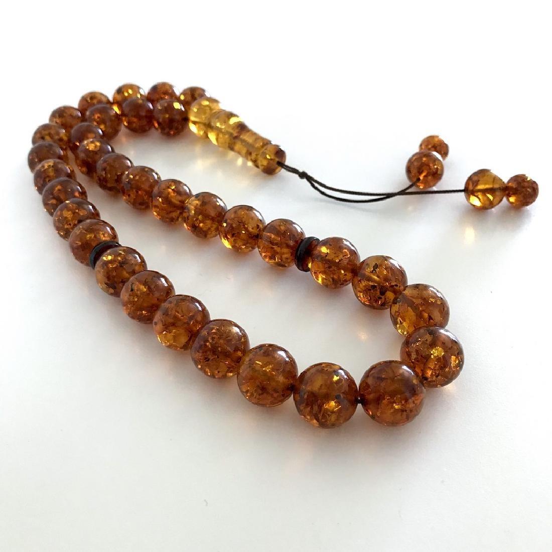 Misbaha tesbih Baltic amber cognac 33 beads ø14mm 59 - 2