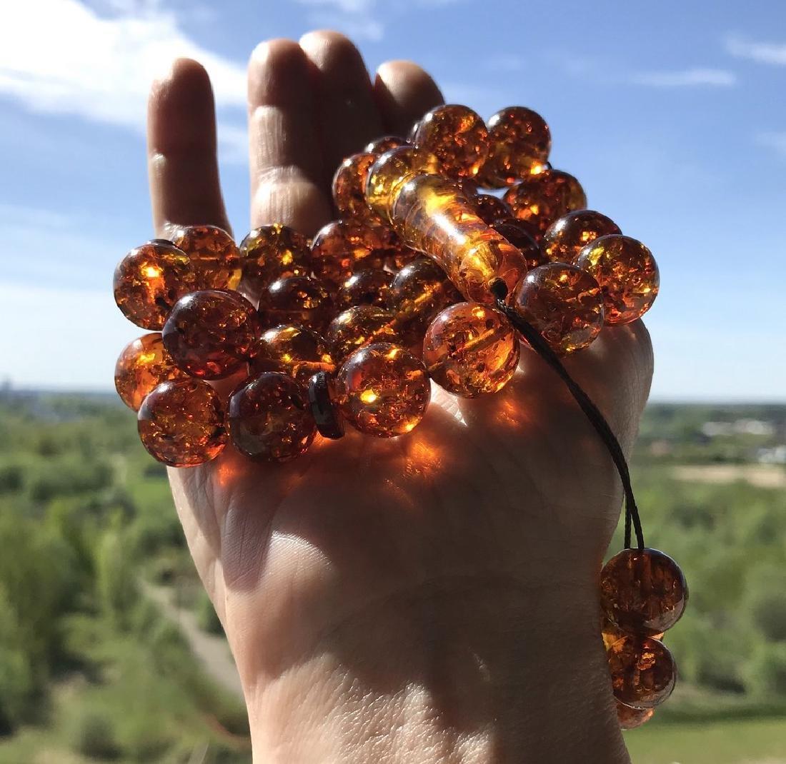 Misbaha tesbih Baltic amber cognac 33 beads ø14mm 59 - 3