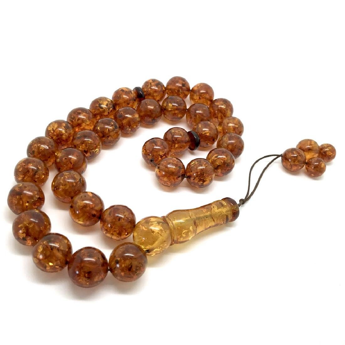 Misbaha tesbih Baltic amber cognac 33 beads ø14mm 59 - 4