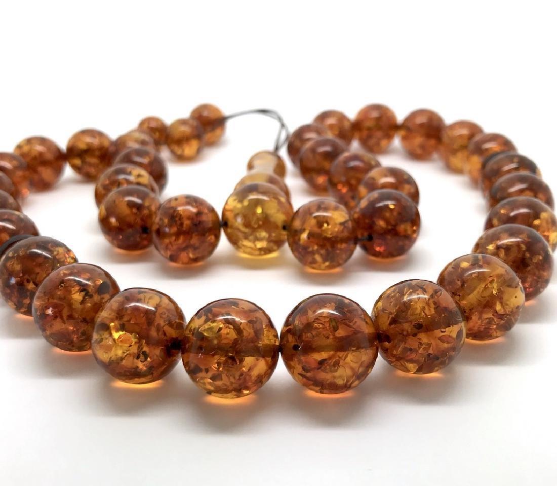Misbaha tesbih Baltic amber cognac 33 beads ø14mm 59 - 7