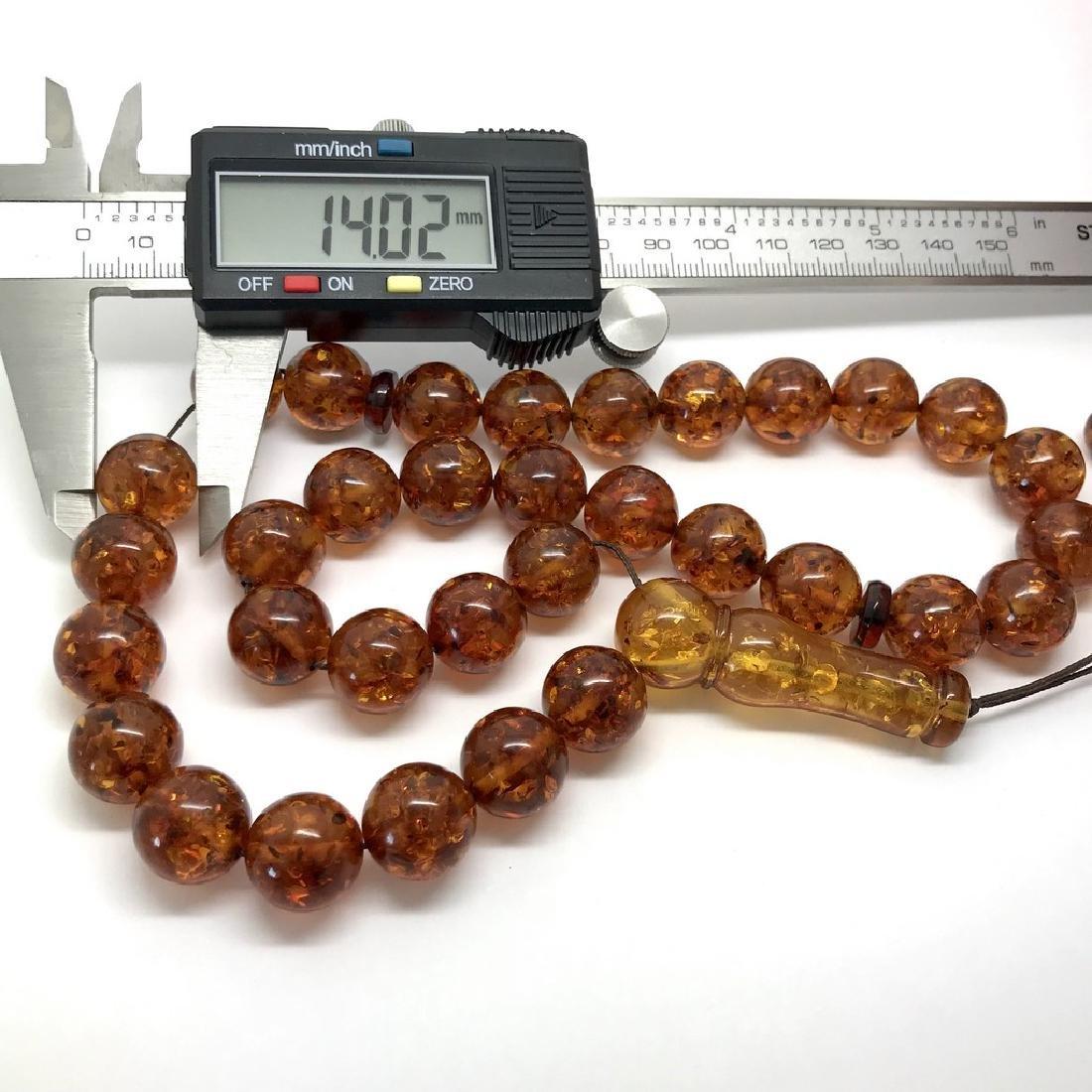 Misbaha tesbih Baltic amber cognac 33 beads ø14mm 59 - 8
