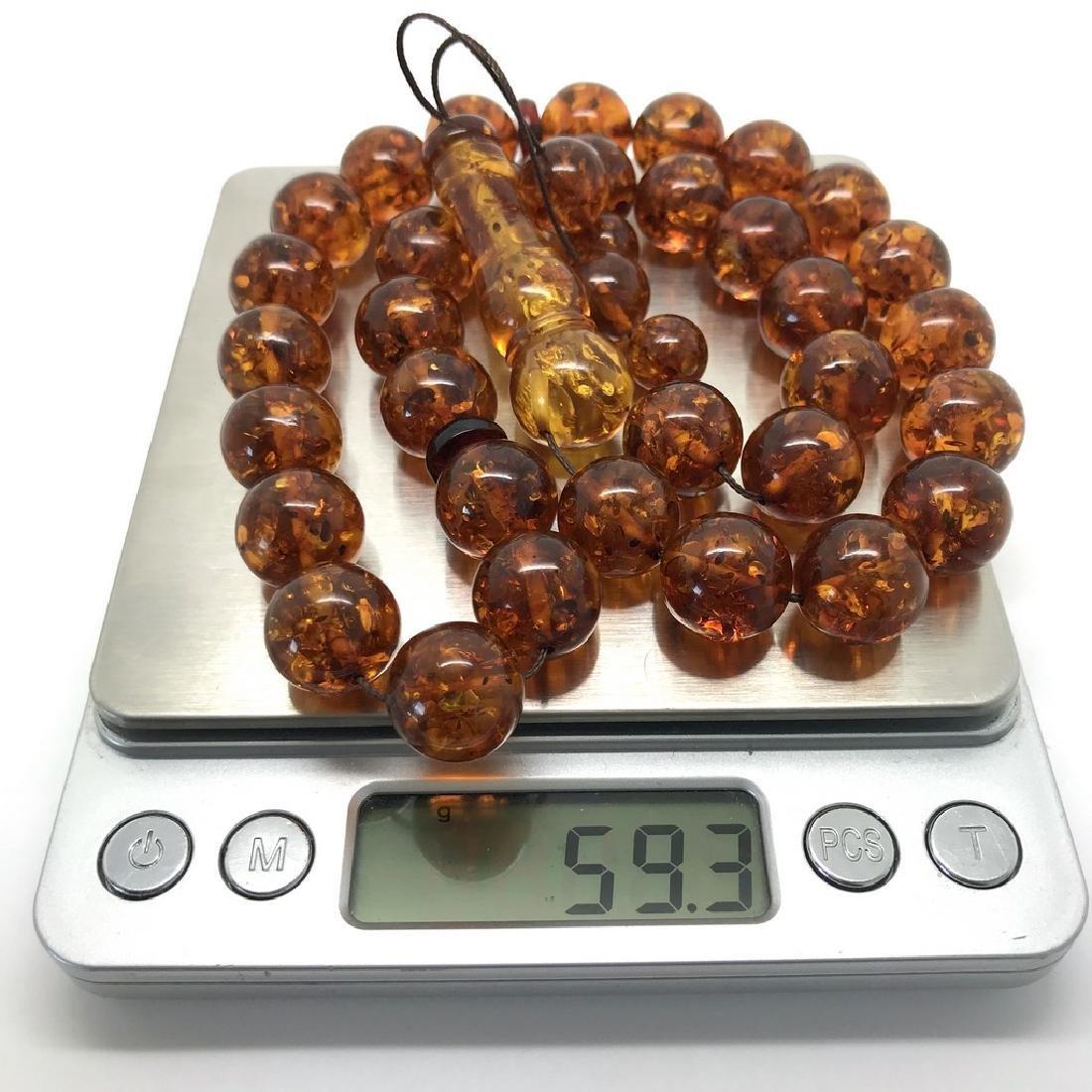 Misbaha tesbih Baltic amber cognac 33 beads ø14mm 59 - 9
