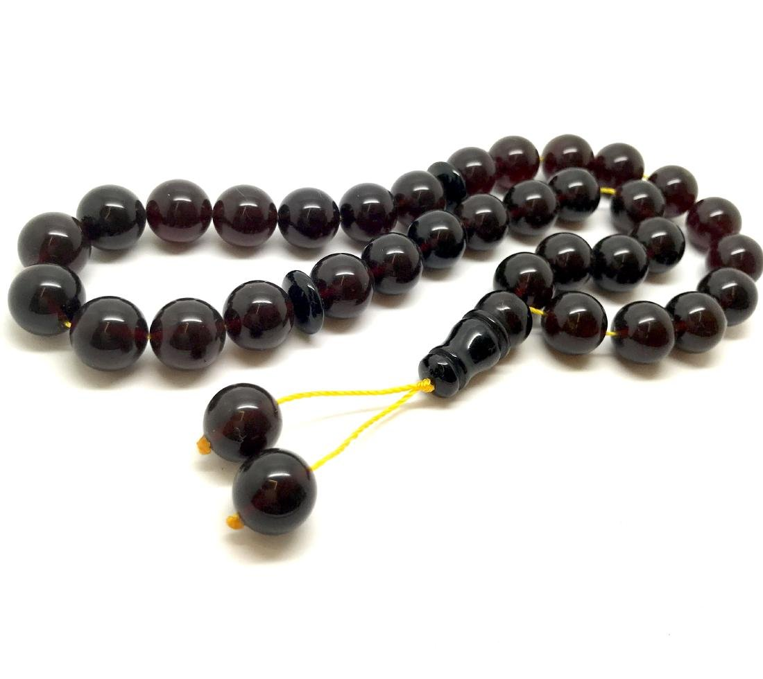 Misbaha tesbih Baltic amber cherry 33 beads ø11.5mm - 2