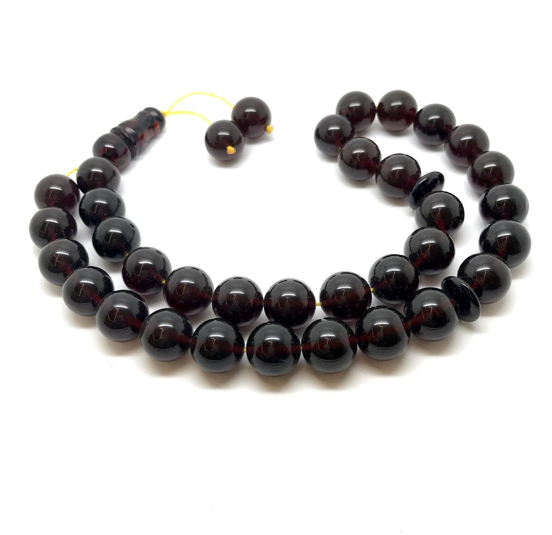 Misbaha tesbih Baltic amber cherry 33 beads ø11.5mm - 3