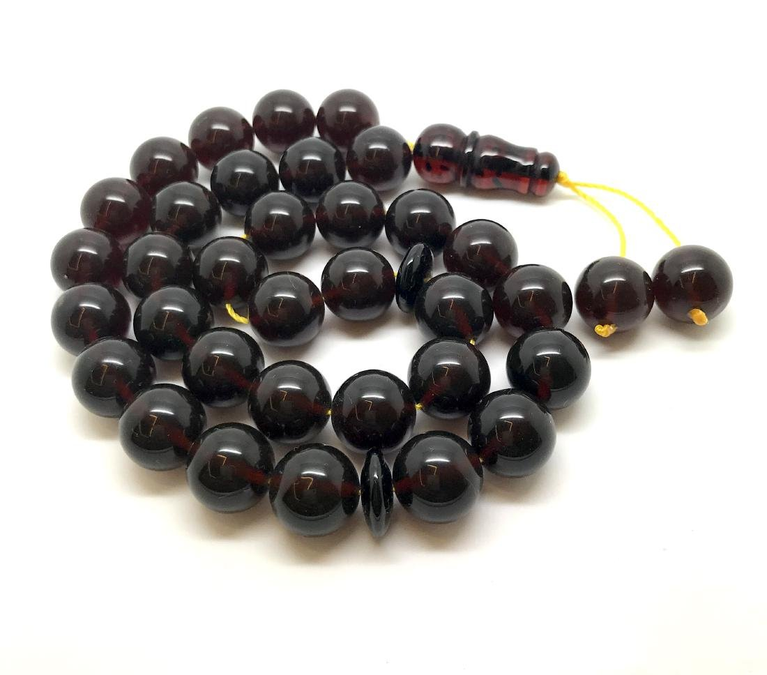 Misbaha tesbih Baltic amber cherry 33 beads ø11.5mm - 4