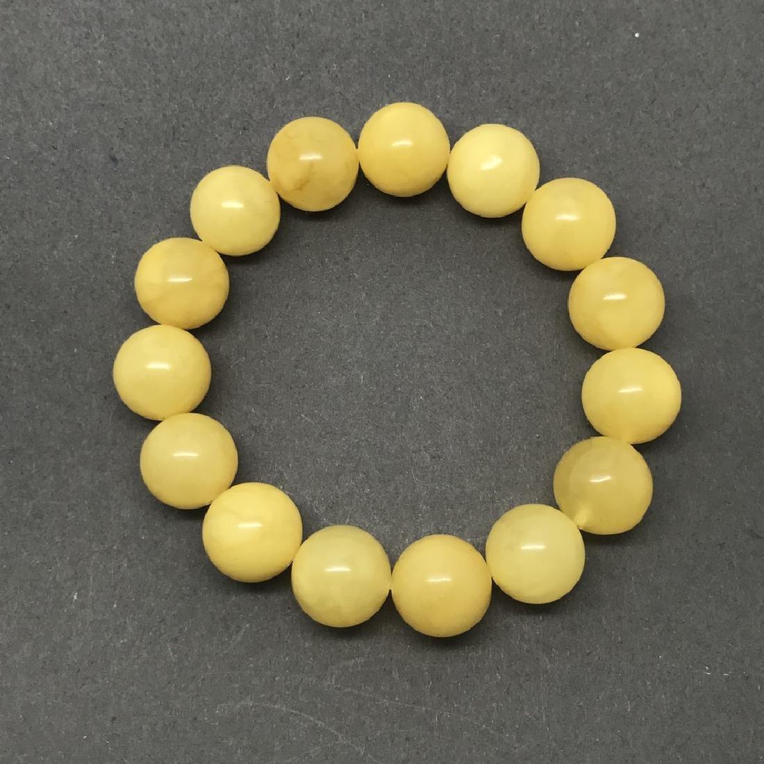 Bracelet Baltic amber butter colour beads ø13mm 18.1 - 4