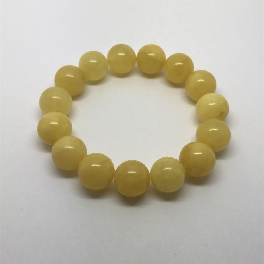 Bracelet Baltic amber butter colour beads ø13mm 18.1 - 7