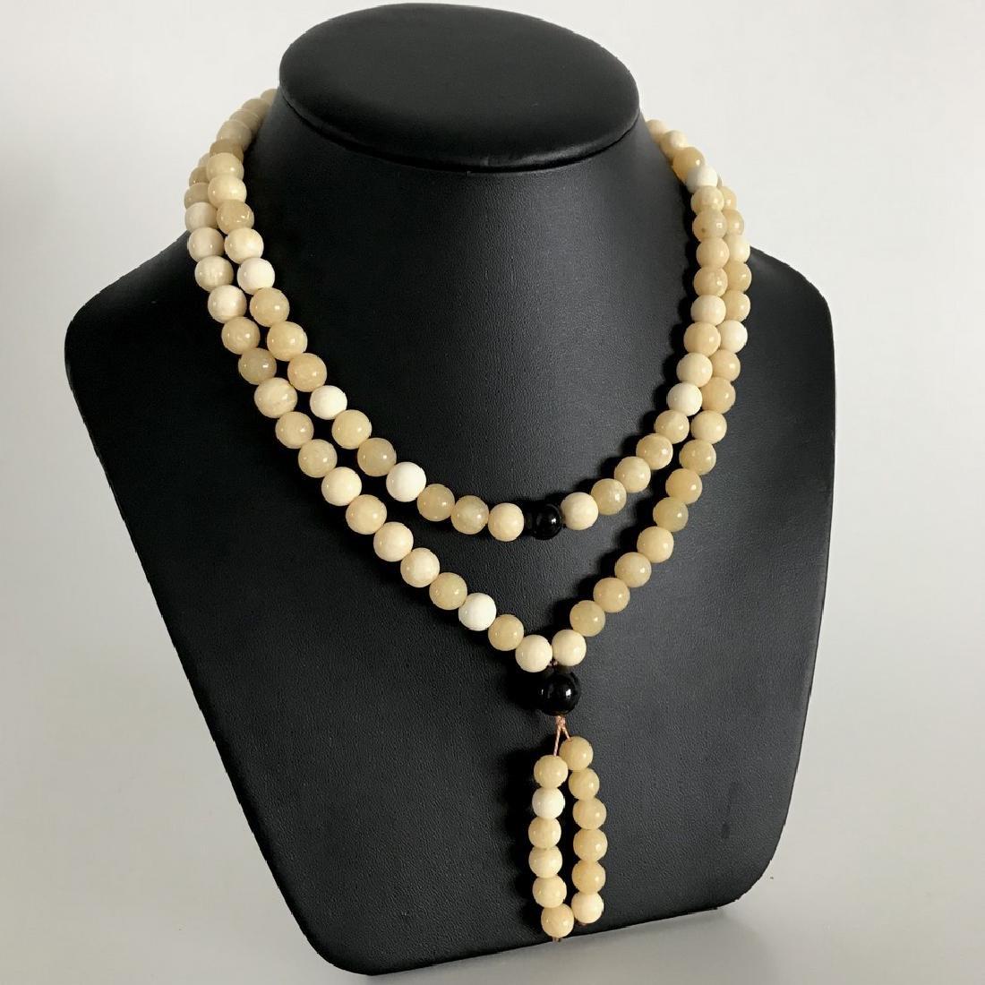 Japa mala necklace Baltic amber cream beads ø9mm 58.8