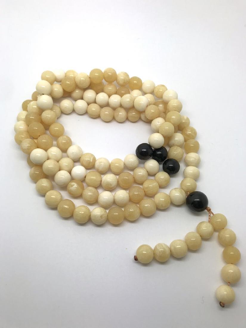 Japa mala necklace Baltic amber cream beads ø9mm 58.8 - 6