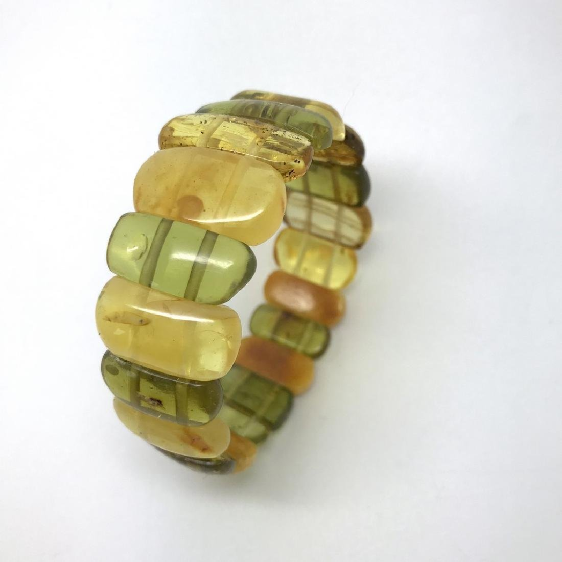 Vintage Bracelet Baltic amber cut cabochons, 19.7 grams