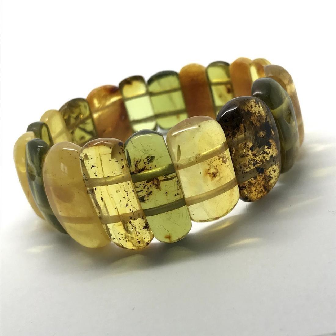 Vintage Bracelet Baltic amber cut cabochons, 19.7 grams - 3