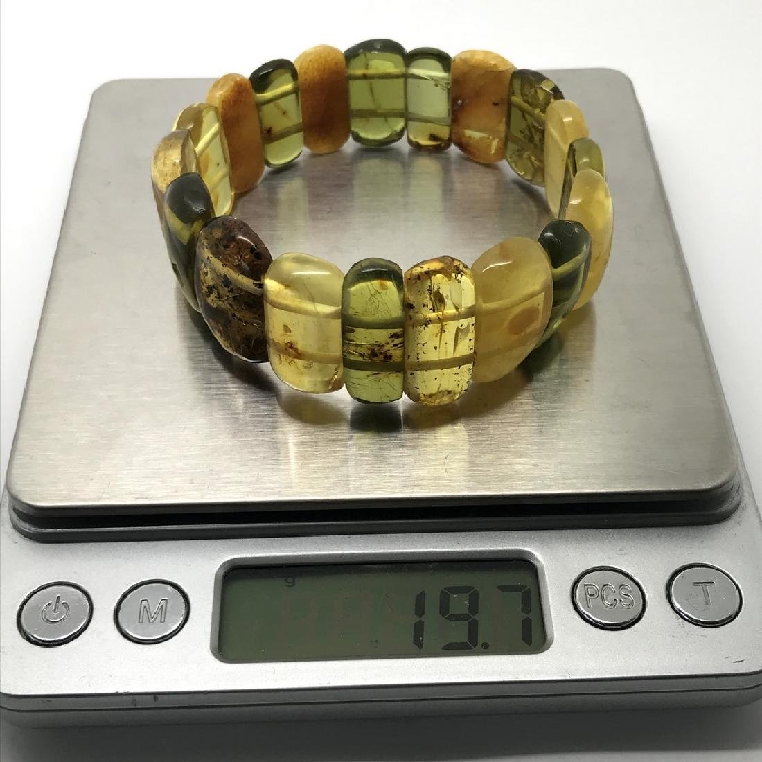 Vintage Bracelet Baltic amber cut cabochons, 19.7 grams - 6