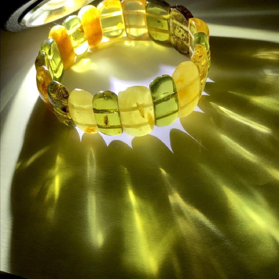 Vintage Bracelet Baltic amber cut cabochons, 19.7 grams - 8