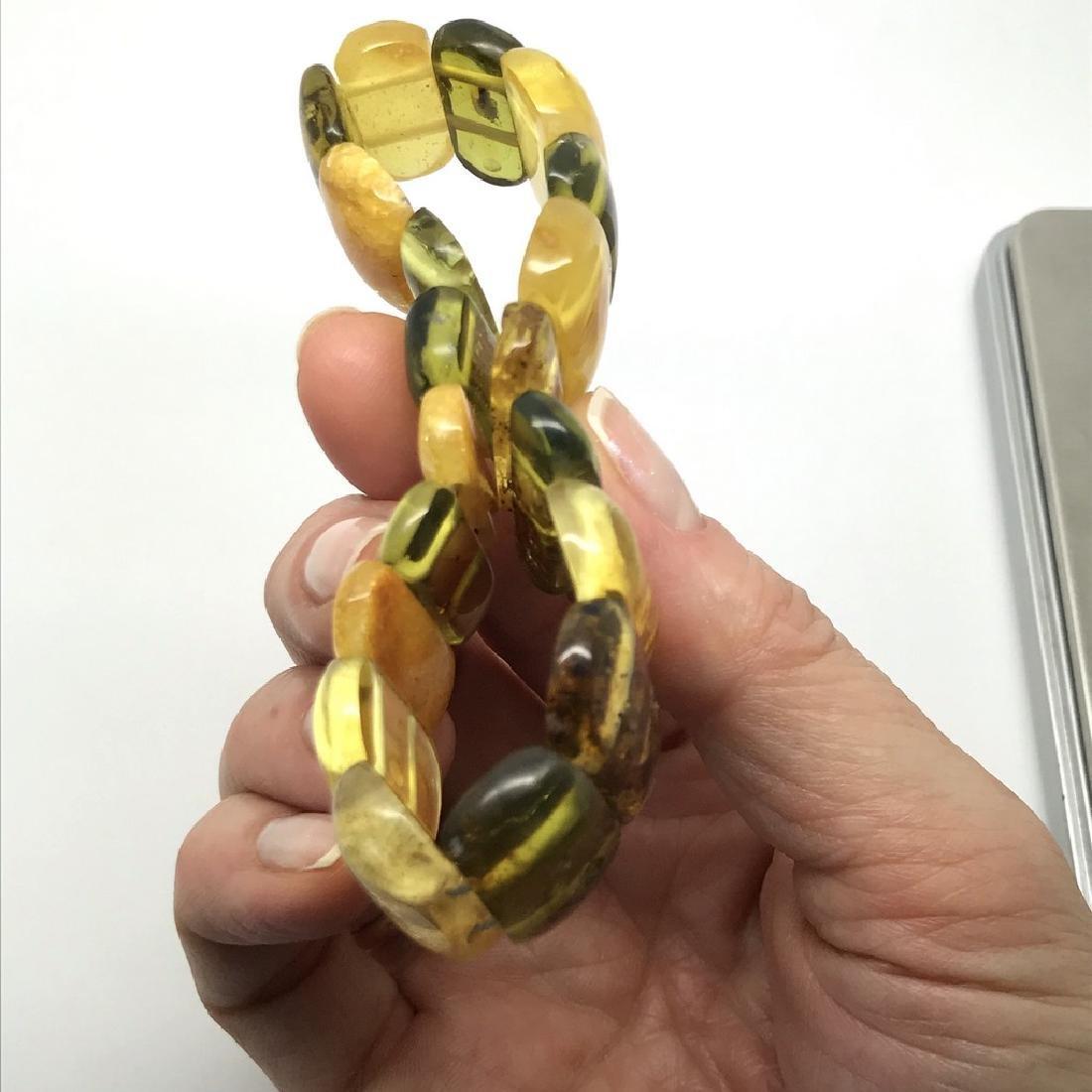 Vintage Bracelet Baltic amber cut cabochons, 19.7 grams - 9