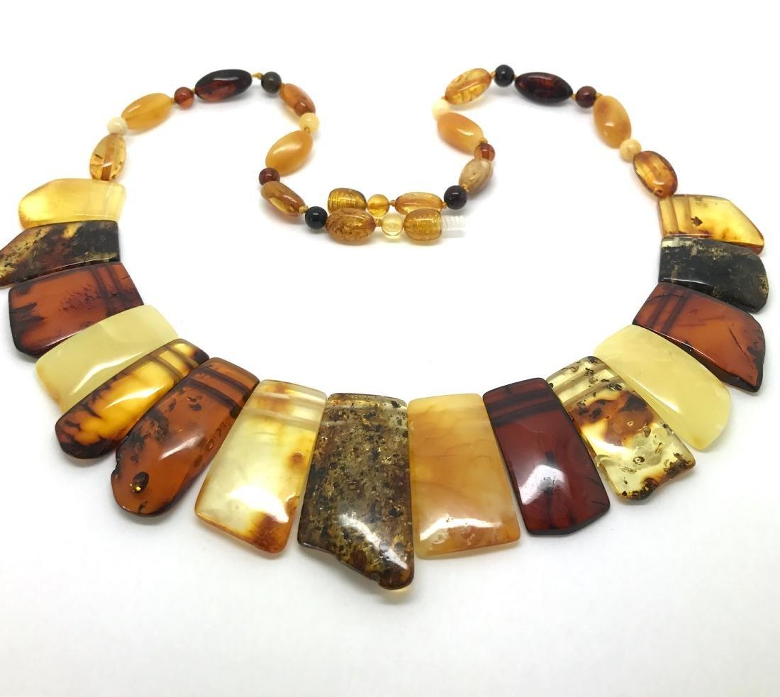 Vintage wide collar necklace Baltic amber 35mm 50cm