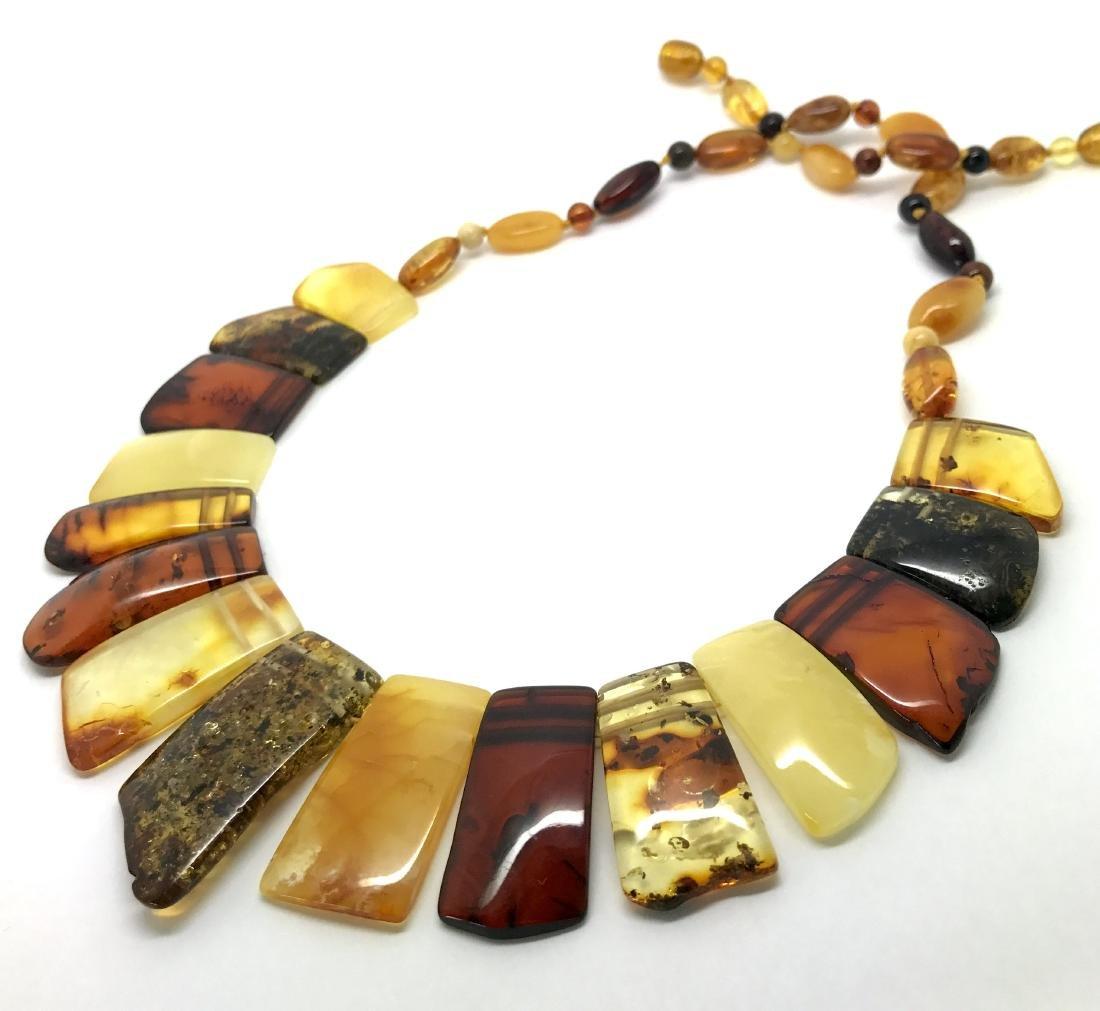 Vintage wide collar necklace Baltic amber 35mm 50cm - 2