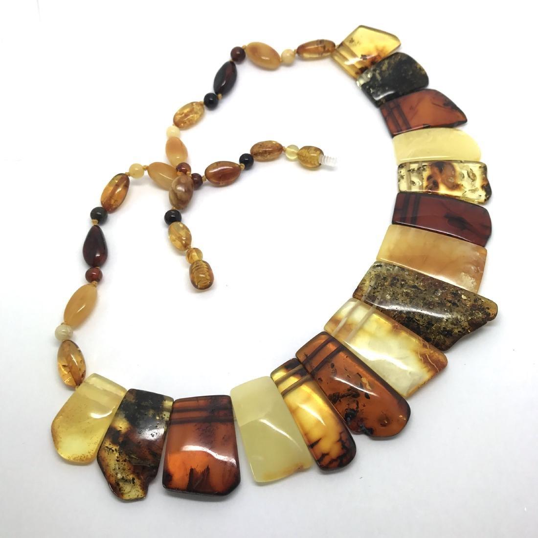 Vintage wide collar necklace Baltic amber 35mm 50cm - 3