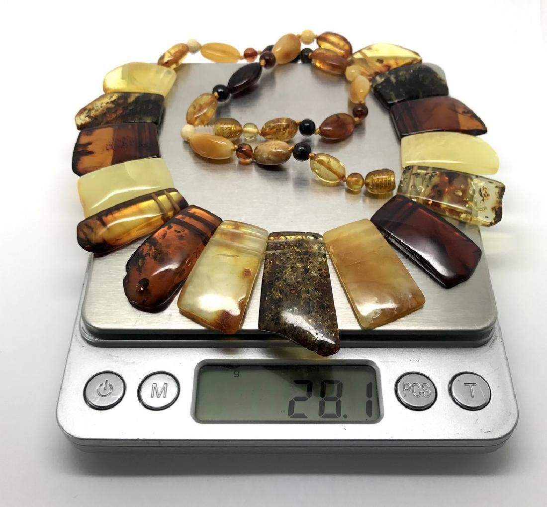 Vintage wide collar necklace Baltic amber 35mm 50cm - 4