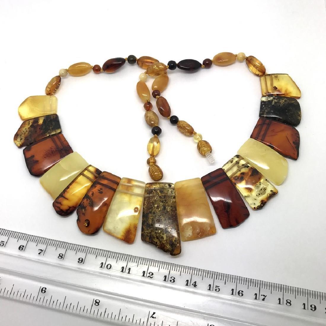 Vintage wide collar necklace Baltic amber 35mm 50cm - 5