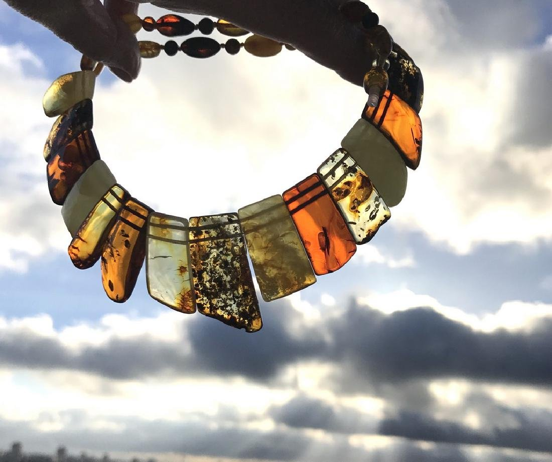 Vintage wide collar necklace Baltic amber 35mm 50cm - 6