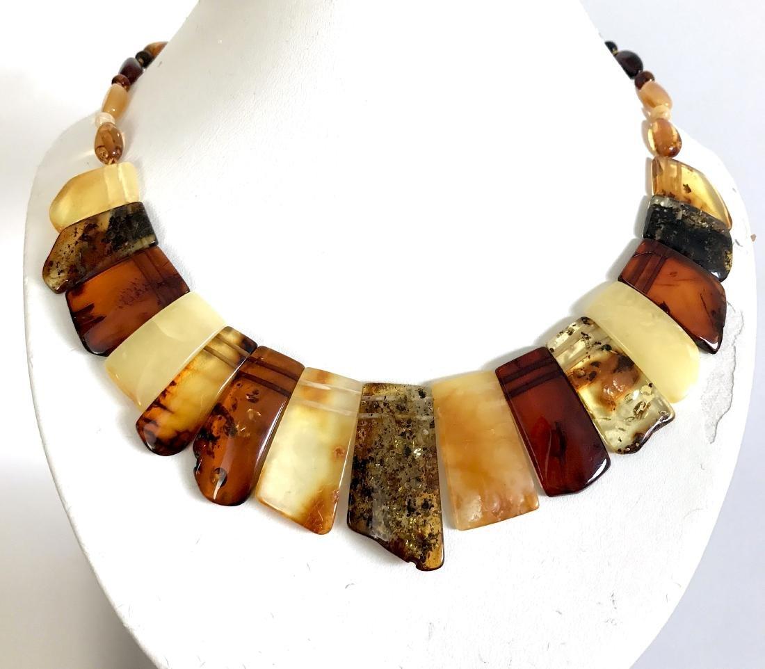 Vintage wide collar necklace Baltic amber 35mm 50cm - 8