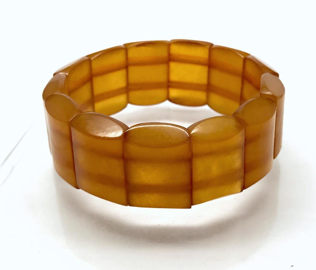 Antique art deco bracelet Baltic amber toffee 25mm 29.2