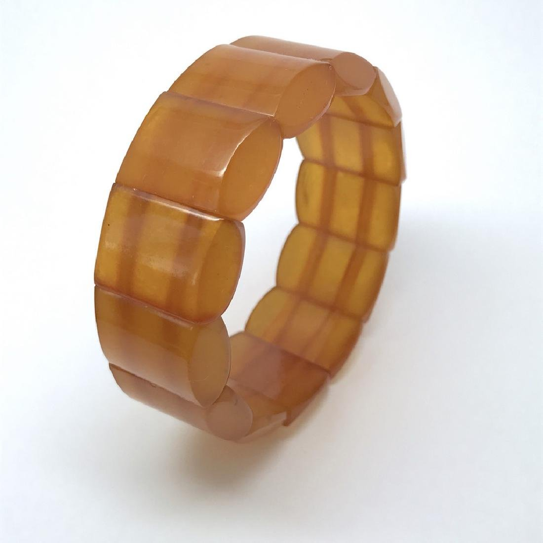 Antique art deco bracelet Baltic amber toffee 25mm 29.2 - 6
