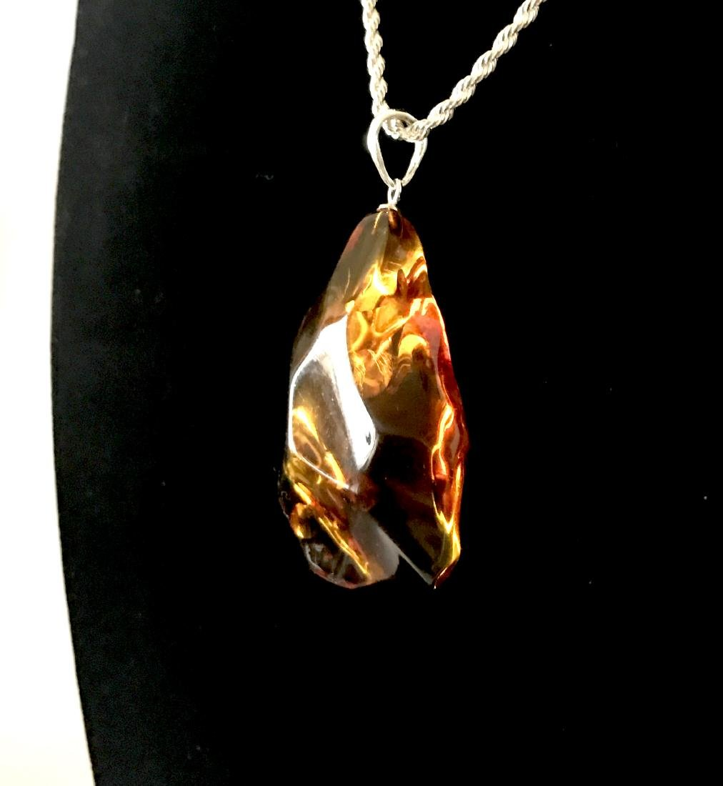 Vintage Baltic amber carved pendant 6x3cm silver 925