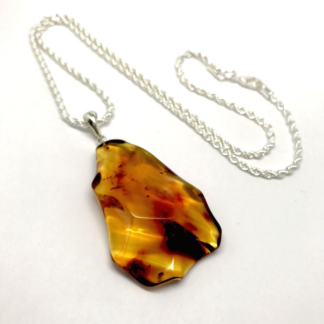 Vintage Baltic amber carved pendant 6x3cm silver 925 - 2