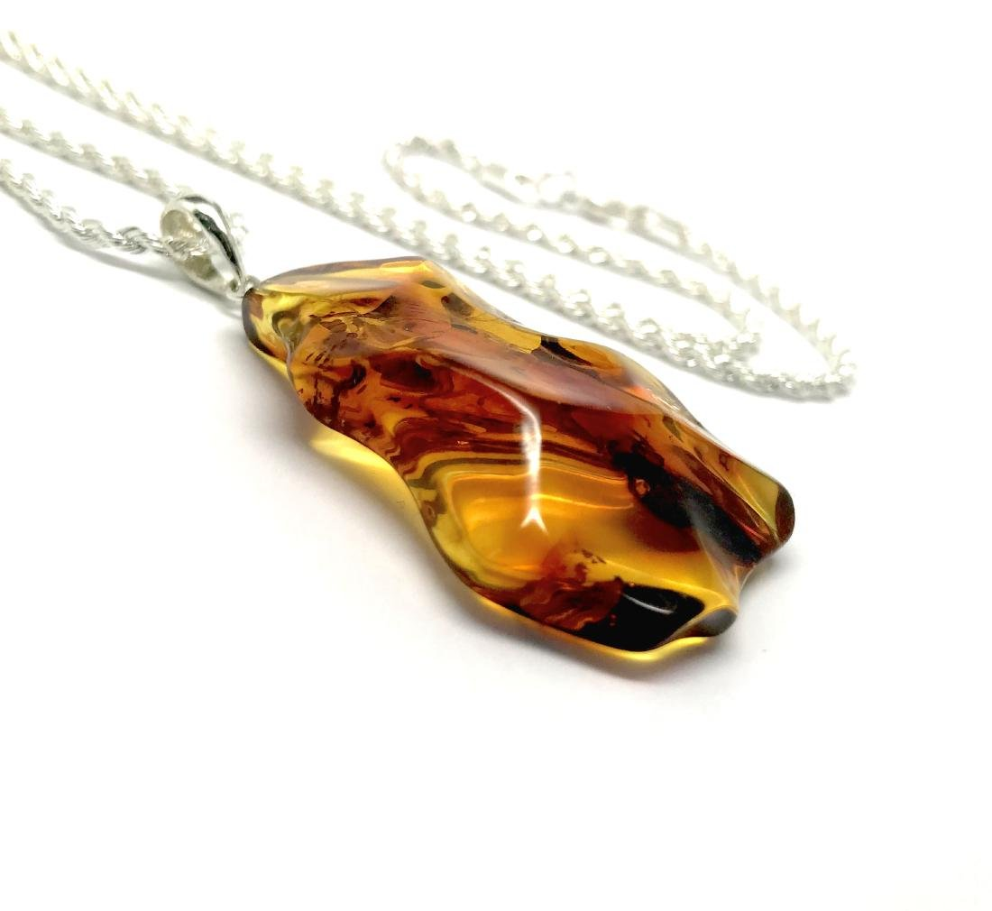 Vintage Baltic amber carved pendant 6x3cm silver 925 - 3