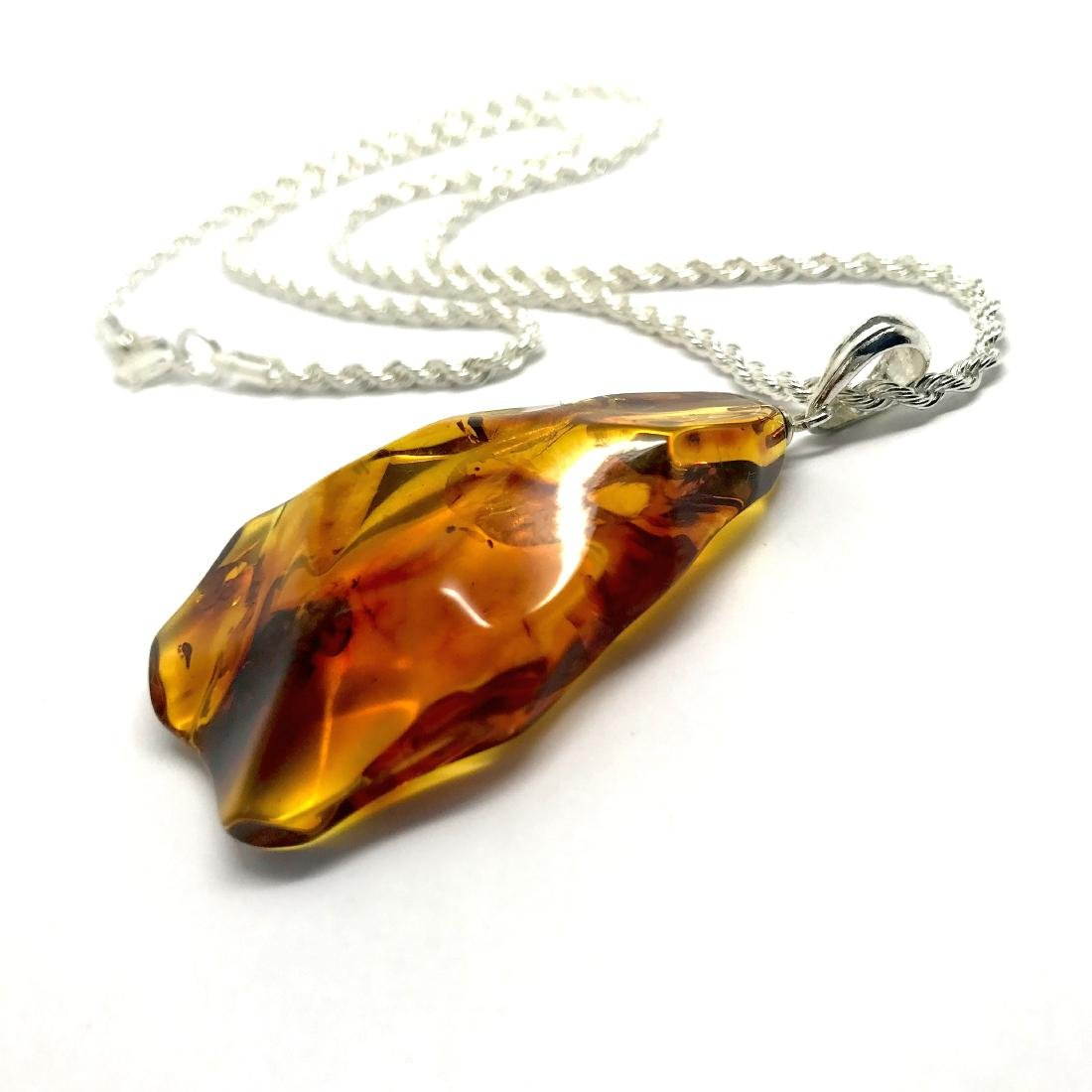 Vintage Baltic amber carved pendant 6x3cm silver 925 - 4