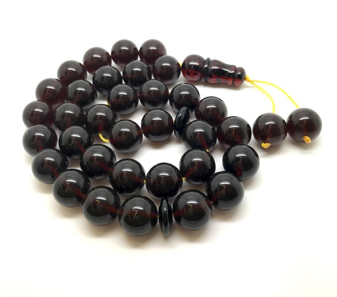 Misbaha tesbih Baltic amber cherry 33 beads ø11.5mm - 2