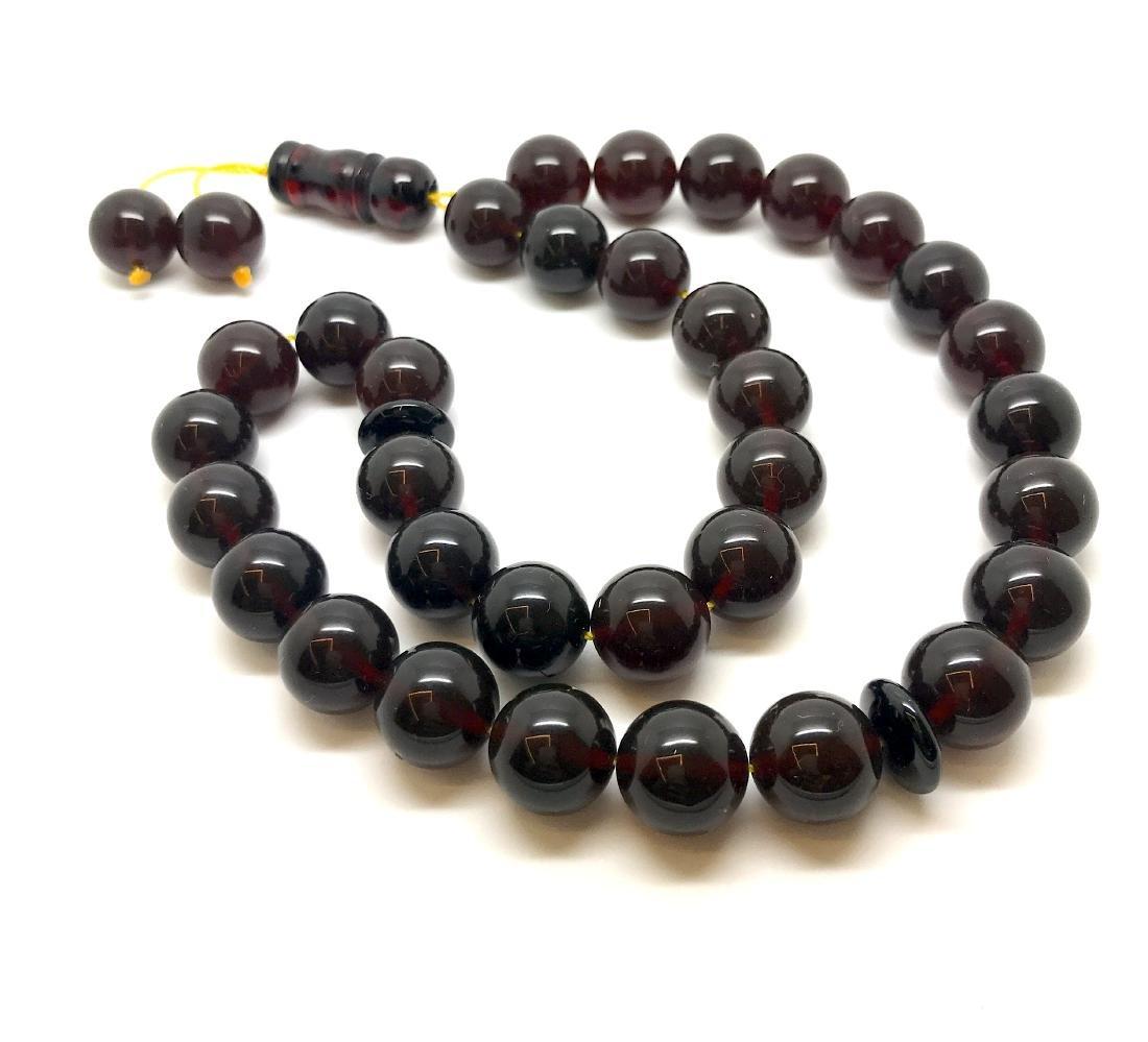 Misbaha tesbih Baltic amber cherry 33 beads ø11.5mm - 9