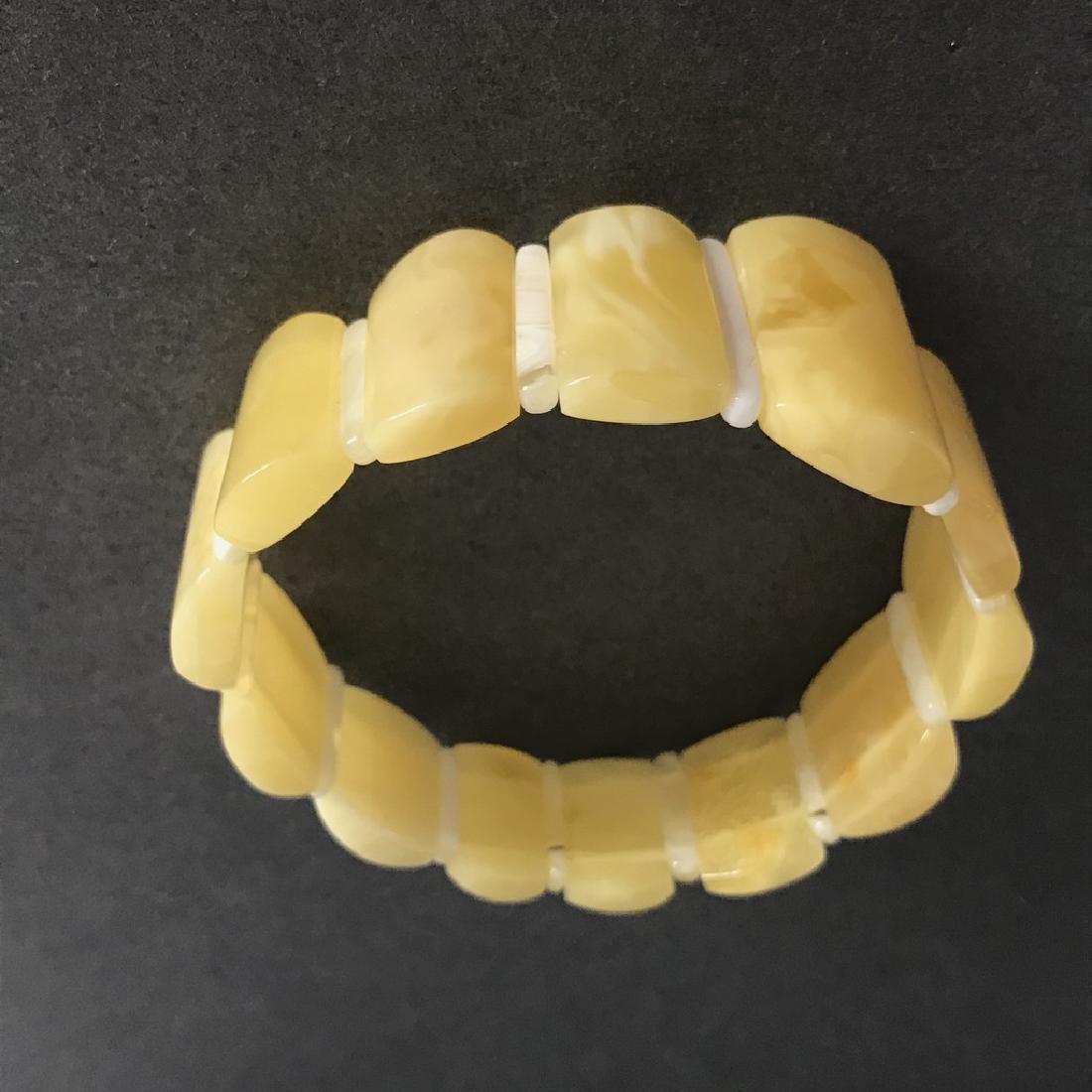 Vintage bracelet Baltic amber white egg yolk 15-24mm, - 4