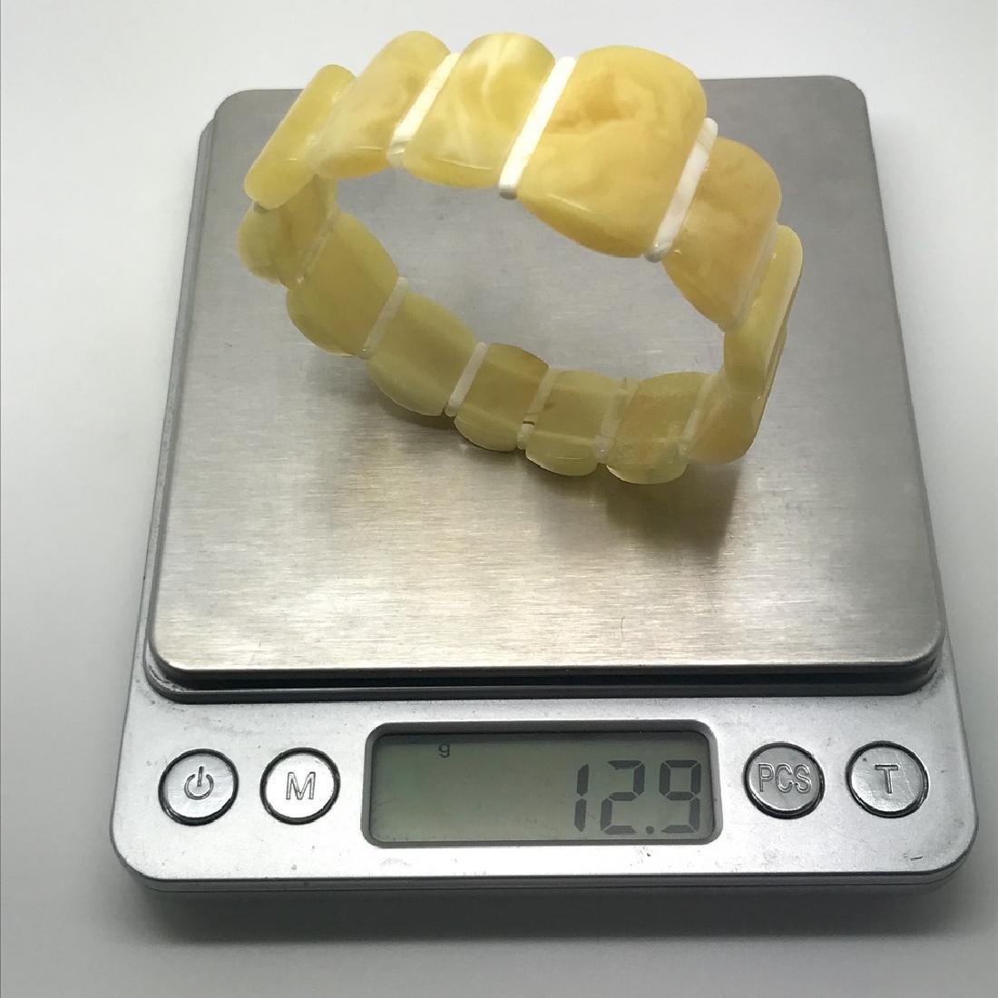 Vintage bracelet Baltic amber white egg yolk 15-24mm, - 7