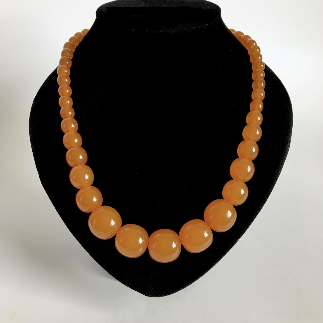Antique necklace Baltic amber toffee beads ø8-19mm 54cm