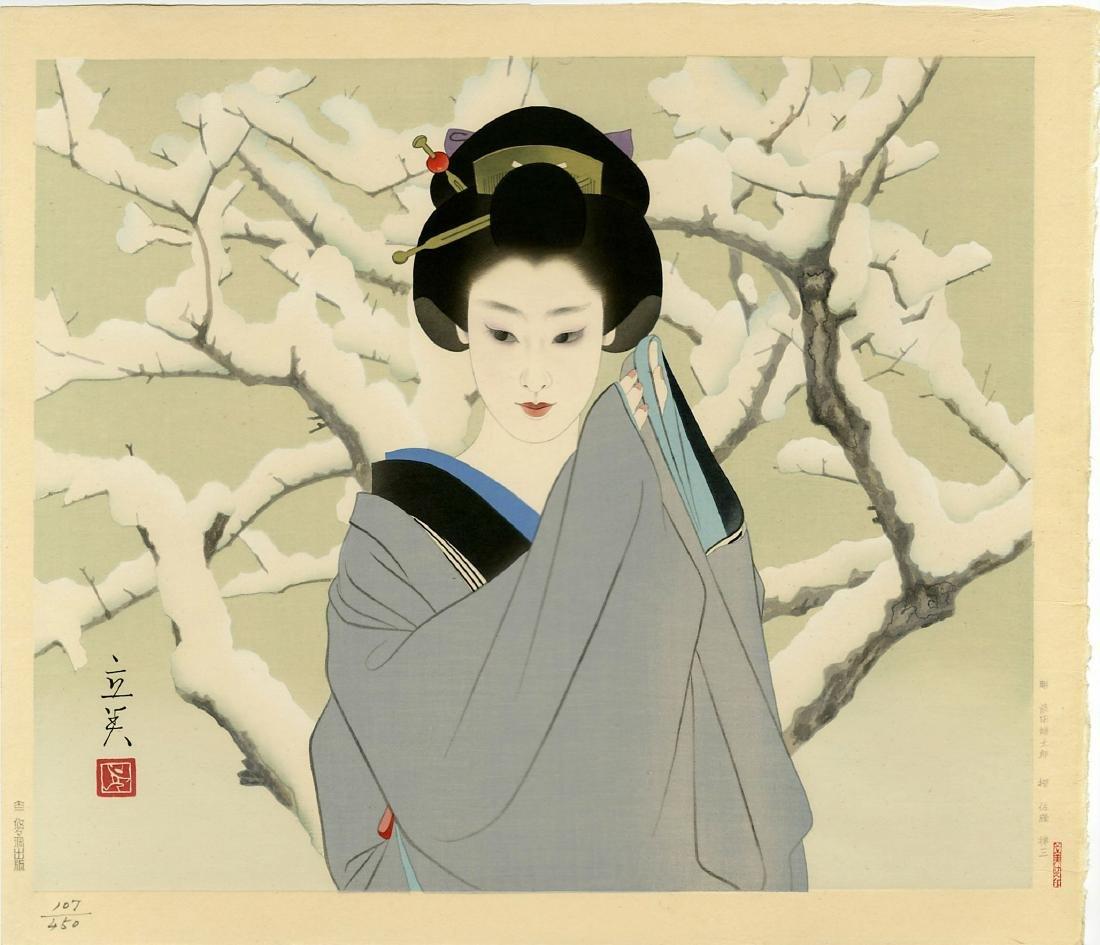 Shimira Tatsumi Woodblock Snow
