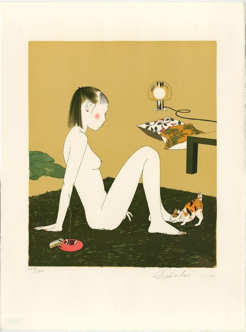 Seiichi Hayashi Woodblock Woman and Cat