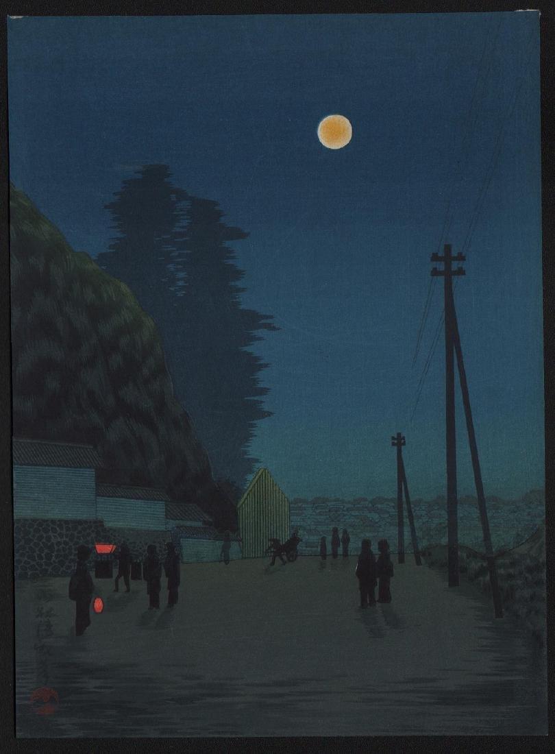 Kiyochika Woodblock Moon-lit street scene