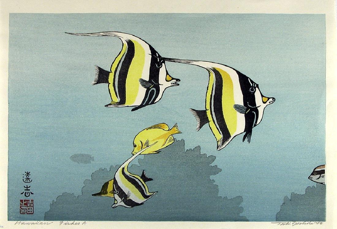 Toshi Yoshida Woodblock Hawaiian Fishes