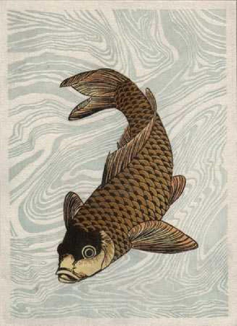 After Hokusai Katsushika Woodblock Floating Carp
