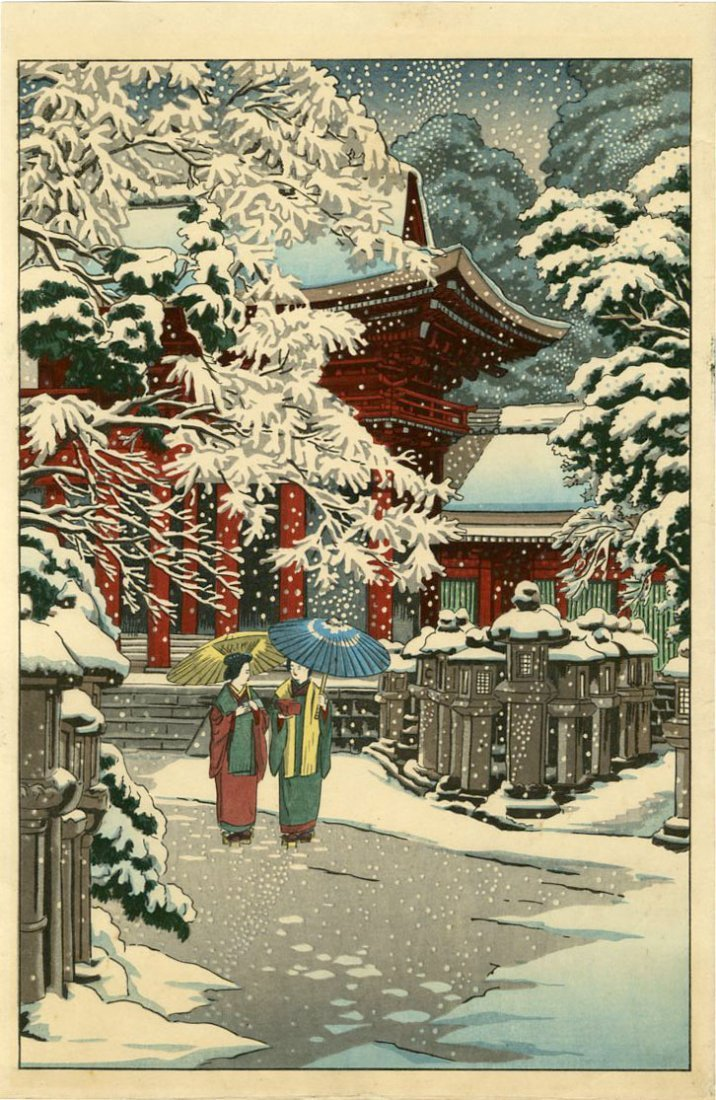 Not Signed Woodblock Two Women by a Temple in Snow