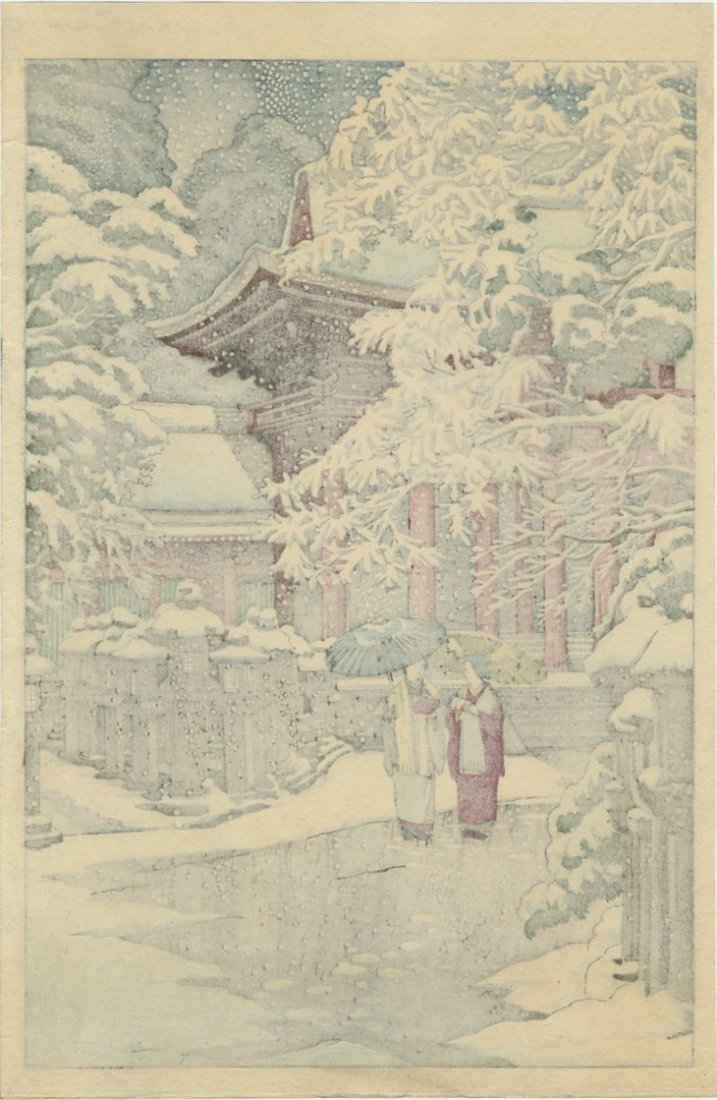 Not Signed Woodblock Two Women by a Temple in Snow - 2