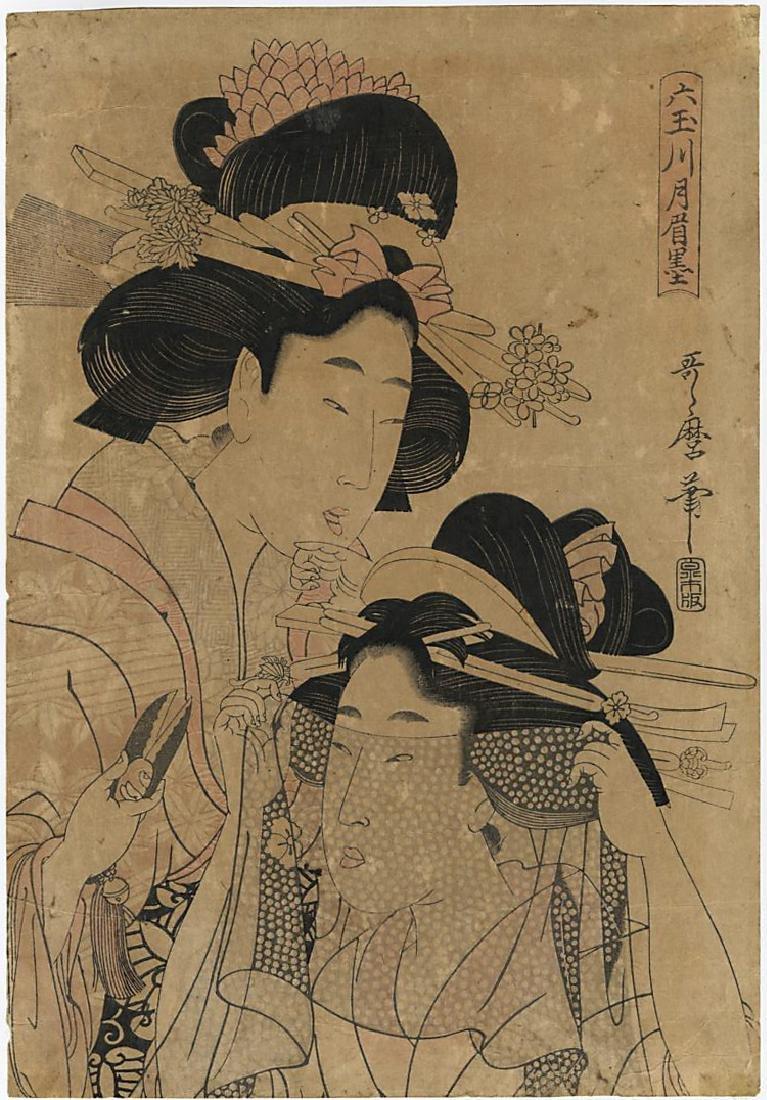 Utamaro Kitagawa Woodblock Cutting Cloth