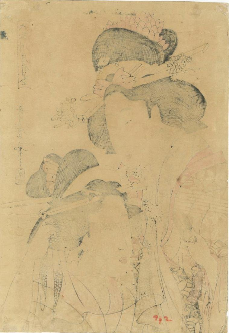 Utamaro Kitagawa Woodblock Cutting Cloth - 2
