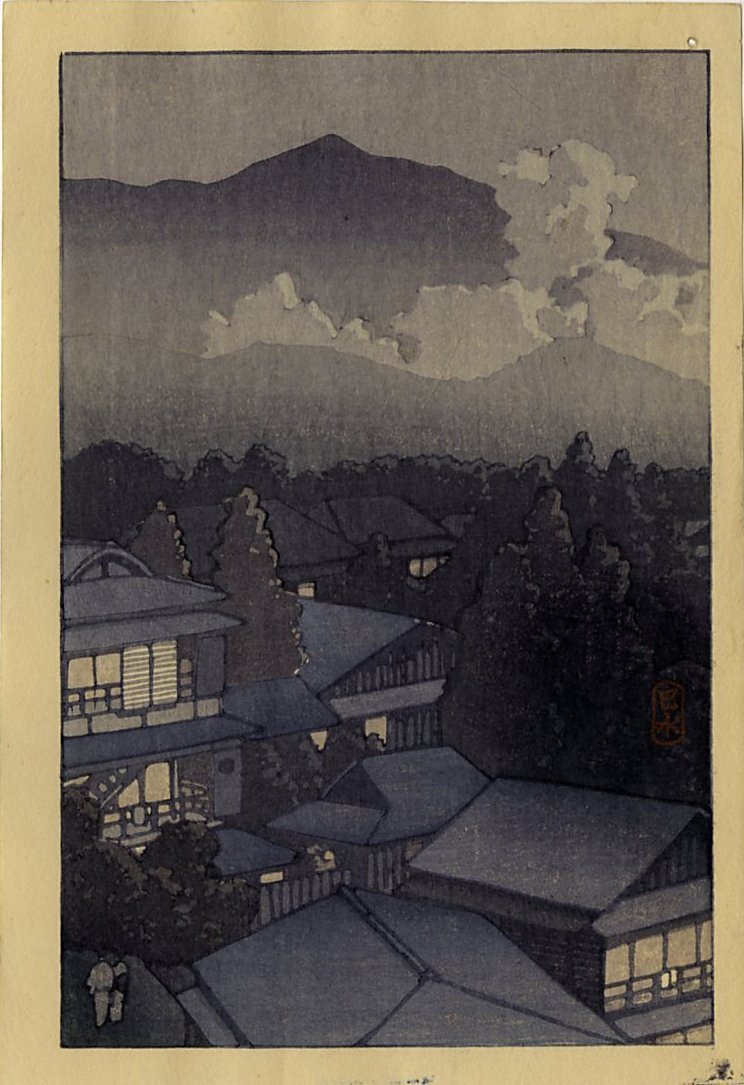 Hasui Kawase Woodblock Evening View of Mountain Village