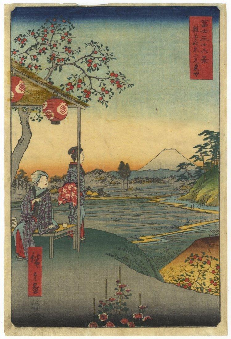 Ando Hiroshige Woodblock 9 Teahouse View of Mt Fuji