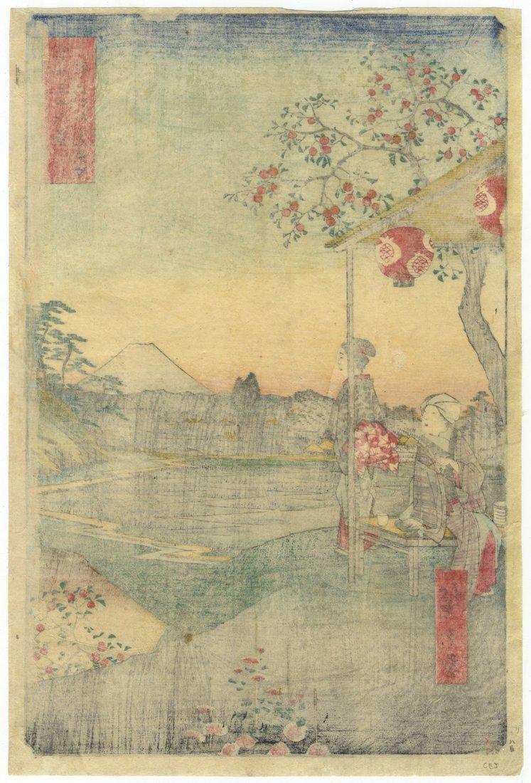 Ando Hiroshige Woodblock 9 Teahouse View of Mt Fuji - 2